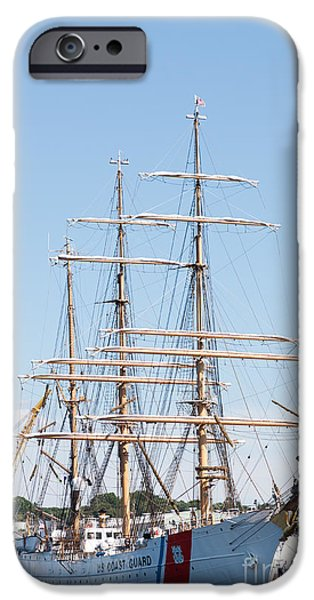 Tall Ship iPhone Cases - USCG Barque Eagle I iPhone Case by Clarence Holmes