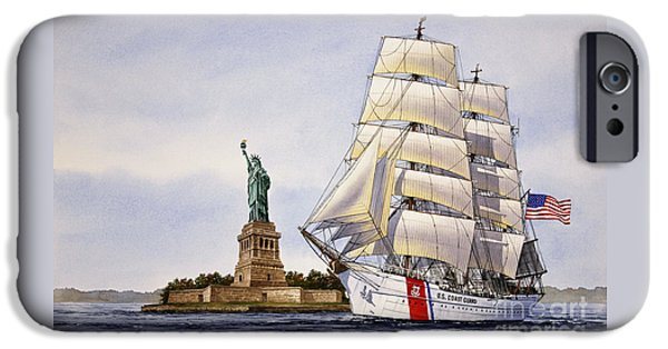 Sailing Ship Framed Prints iPhone Cases - Uscg Eagle iPhone Case by James Williamson