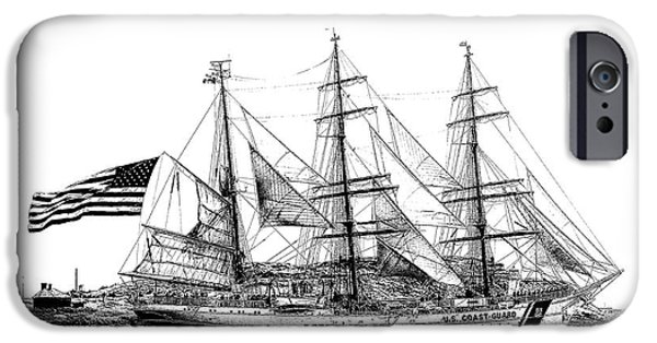 Tall Ship Mixed Media iPhone Cases - U.S.Coast Guard Barque Eagle iPhone Case by Dave Lahn