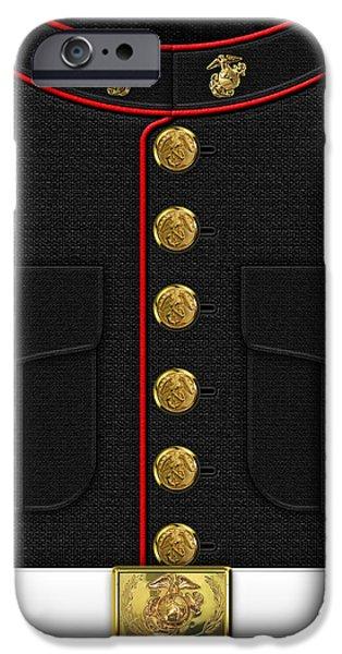 Marine Corps Digital iPhone Cases - USMC Dress uniform iPhone Case by Serge Averbukh