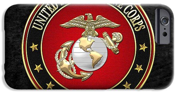 Marine Corps Digital iPhone Cases - USMC Eagle Globe and Anchor - EGA on Black Velvet iPhone Case by Serge Averbukh