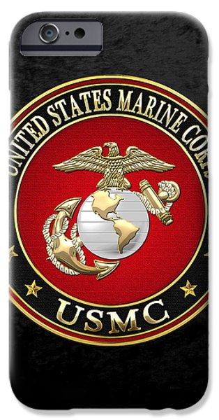 Marine Corps Digital iPhone Cases - U S M C Eagle Globe and Anchor - E G A on Black Velvet iPhone Case by Serge Averbukh