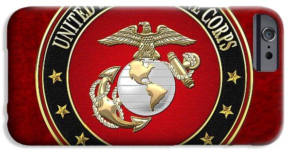 Marine Corps Digital iPhone Cases - USMC Eagle Globe and Anchor - EGA on Red Velvet iPhone Case by Serge Averbukh