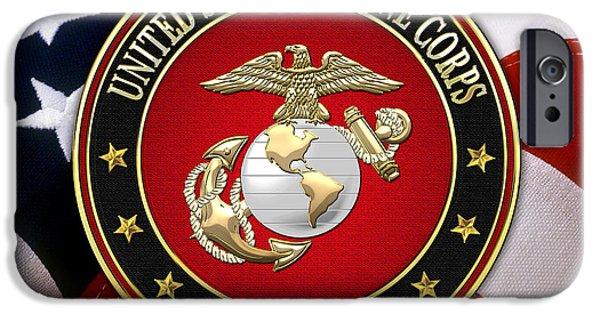 Marine Corps Digital iPhone Cases - USMC Eagle Globe and Anchor - EGA over American Flag. iPhone Case by Serge Averbukh