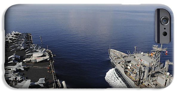 At Arrivals iPhone Cases - Usns Rainier Transits Next To Uss iPhone Case by Stocktrek Images
