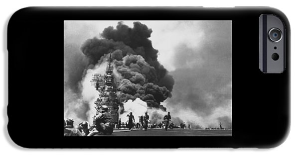 Carrier iPhone Cases - USS Bunker Hill Kamikaze Attack  iPhone Case by War Is Hell Store