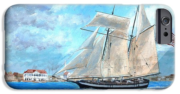 Old Glory Paintings iPhone Cases - USS Carolina Departing Charleston iPhone Case by Keith Wilkie