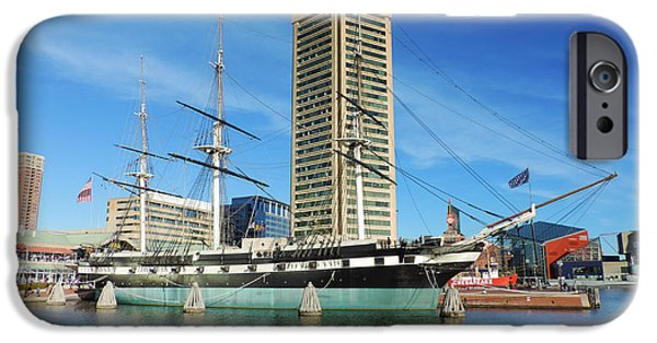 Constellations iPhone Cases - USS Constellation with the Baltimore World Trade Center 2 iPhone Case by Cityscape Photography