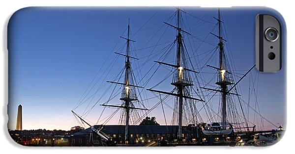 Tall Ship iPhone Cases - USS Constitution and Bunker Hill Monument iPhone Case by Juergen Roth