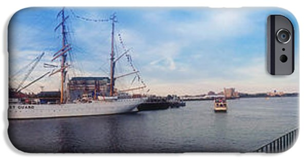 Constitution iPhone Cases - USS Constitution and the USCG Eagle Panoramic iPhone Case by Joann Vitali