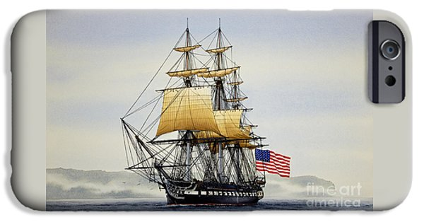 Tall Ship iPhone Cases - Uss Constitution iPhone Case by James Williamson