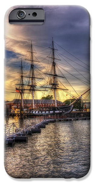 Joann Vitali iPhone Cases - USS Constitution Sunset - Boston iPhone Case by Joann Vitali