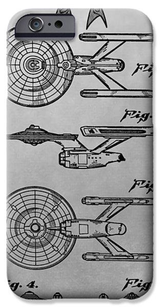 Enterprise Digital iPhone Cases - USS Enterprise Patent Illustration iPhone Case by Dan Sproul