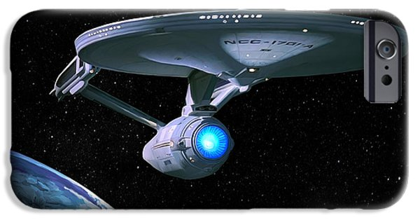 Botany Digital Art iPhone Cases - USS Enterprise iPhone Case by Paul Tagliamonte