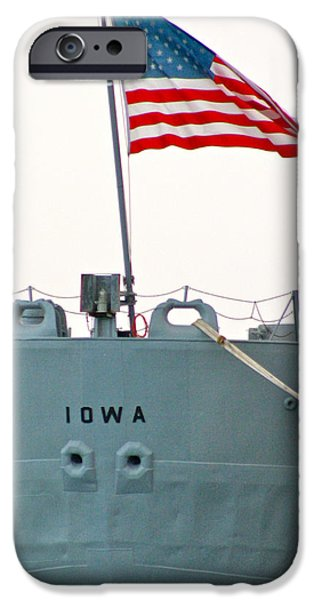 Flag Pyrography iPhone Cases - USS  IOWA  at the Pier in Richmond Ca iPhone Case by DUG Harpster