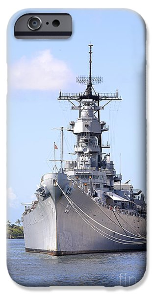 Weapon iPhone Cases - USS Missouri at Pearl Harbor iPhone Case by Jan Tyler