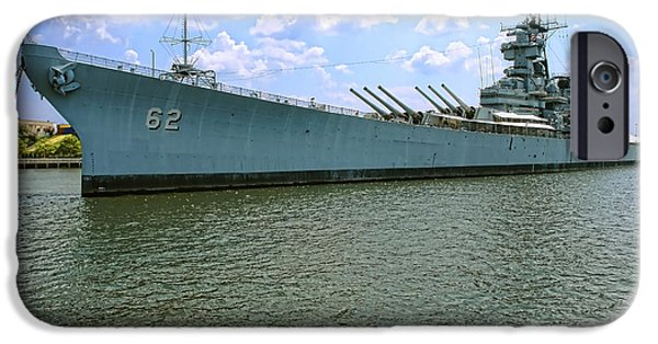 Navy iPhone Cases - USS New Jersey iPhone Case by Olivier Le Queinec