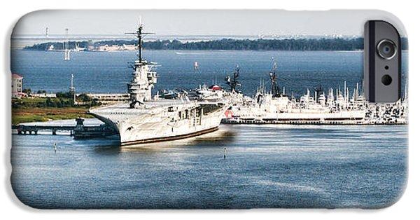Yorktown iPhone Cases - USS Yorktown Aircraft Carrier at Charleston iPhone Case by Kathy Clark