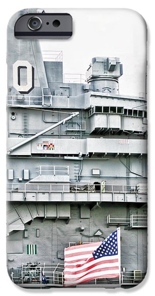 Yorktown Digital iPhone Cases - USS Yorktown Aircraft Carrier In High Key iPhone Case by Kathy Clark
