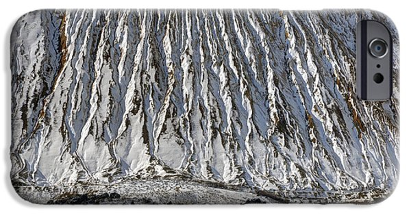 Tailings iPhone Cases - Utah Copper Mine Tailings Pile in Winter iPhone Case by Gary Whitton