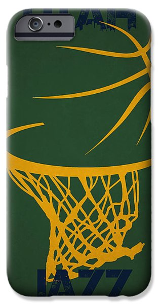 Utah Jazz iPhone Cases - Utah Jazz Hoop iPhone Case by Joe Hamilton