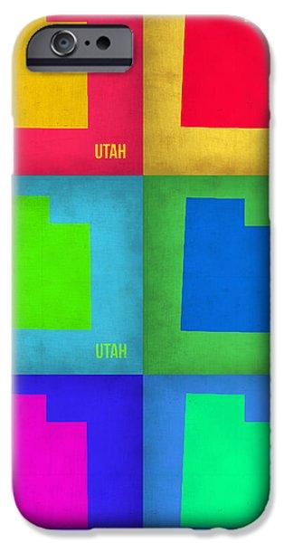 Utah iPhone Cases - Utah Pop Art Map 1 iPhone Case by Naxart Studio