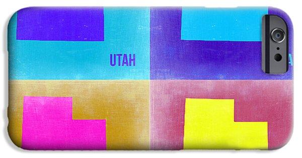 Utah iPhone Cases - Utah Pop Art Map 2 iPhone Case by Naxart Studio