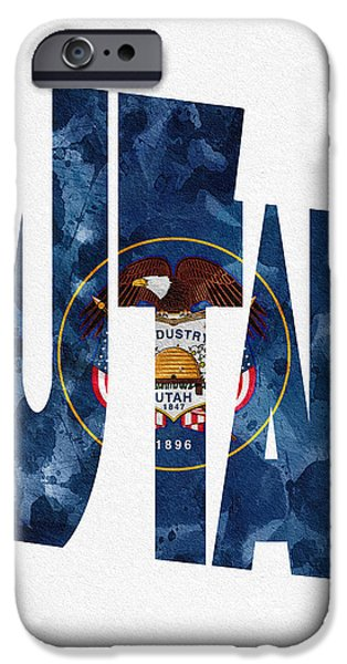 Jordan Mixed Media iPhone Cases - Utah Typographic Map Flag iPhone Case by Ayse Deniz