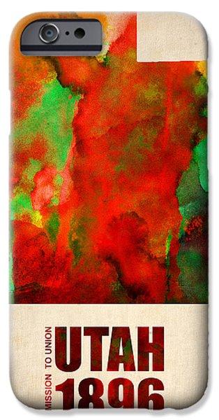 Utah iPhone Cases - Utah Watercolor Map iPhone Case by Naxart Studio