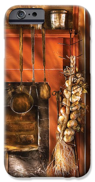 Utensils - Garlic and Spoons iPhone Case by Mike Savad