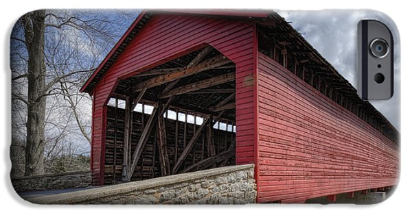 Antiques iPhone Cases - Utica Mills Covered Bridge iPhone Case by Joan Carroll