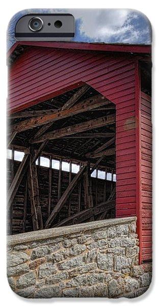 Utica Mills Covered Bridge iPhone Case by Joan Carroll
