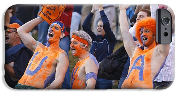 Applaud iPhone Cases - UVA Football Fans Body Paint Cheering iPhone Case by Jason O Watson
