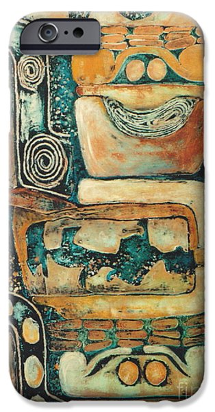 Facade Mixed Media iPhone Cases - Uxmal        2 0f 6 iPhone Case by Pamela Iris Harden