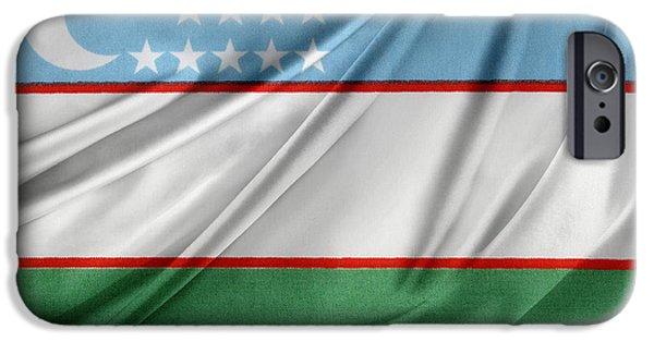Patriotism iPhone Cases - Uzbekistan flag iPhone Case by Les Cunliffe