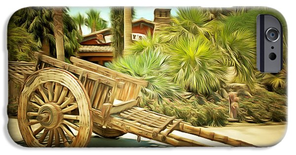 Wooden Wagons iPhone Cases - Wooden Hand Cart  iPhone Case by Barbara Snyder