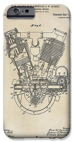 Combustion iPhone Cases - V-twin Combustion Engine Patent  1914 iPhone Case by Daniel Hagerman