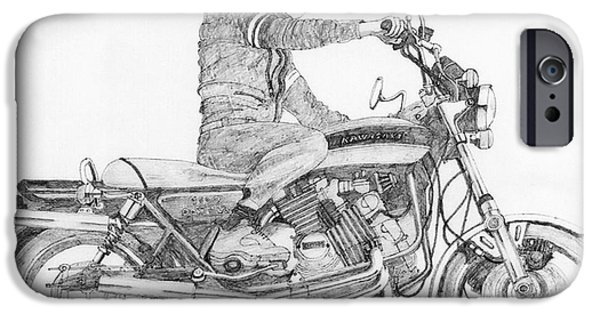 Stainless Steel Drawings iPhone Cases - V8 Kawasaki iPhone Case by Stephen Brooks