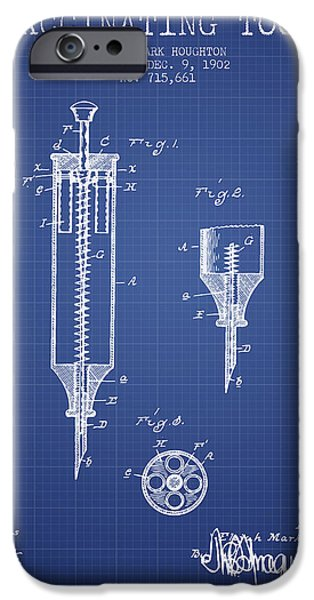 Syringe iPhone Cases - Vaccination Tool Patent from 1902- Blueprint iPhone Case by Aged Pixel