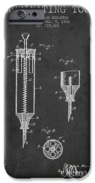 Syringe iPhone Cases - Vaccination Tool Patent from 1902 - Dark iPhone Case by Aged Pixel