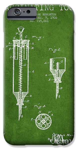 Syringe iPhone Cases - Vaccination Tool Patent from 1902 - Green iPhone Case by Aged Pixel