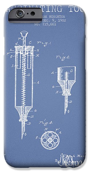 Syringe iPhone Cases - Vaccination Tool Patent from 1902 - Light Blue iPhone Case by Aged Pixel