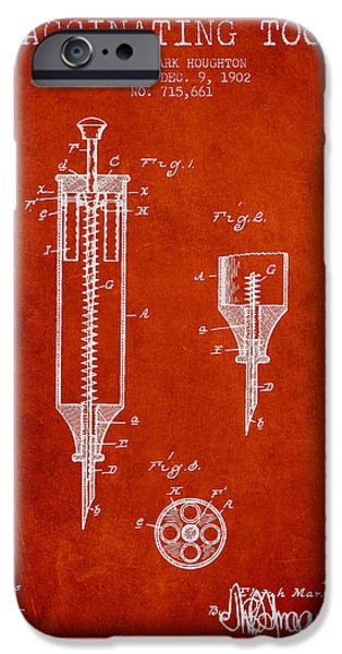 Syringe iPhone Cases - Vaccination Tool Patent from 1902 - Red iPhone Case by Aged Pixel