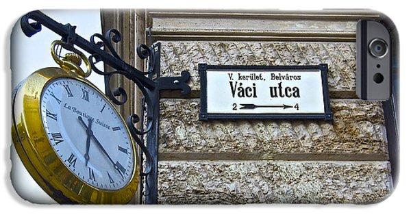 Clock Shop iPhone Cases - Vaci Utca iPhone Case by Galexa Ch