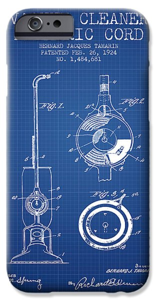 Electronic iPhone Cases - Vacuum Cleaner Electric Cord patent from 1924 - Blueprint iPhone Case by Aged Pixel