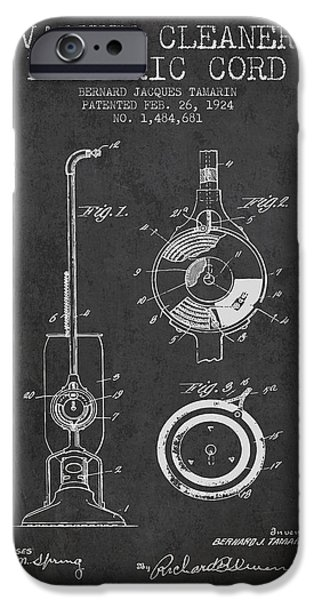Electronic iPhone Cases - Vacuum Cleaner Electric Cord patent from 1924 - Charcoal iPhone Case by Aged Pixel