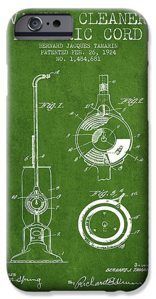 Electronic iPhone Cases - Vacuum Cleaner Electric Cord patent from 1924 - Green iPhone Case by Aged Pixel