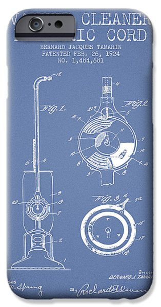 Electronic iPhone Cases - Vacuum Cleaner Electric Cord patent from 1924 - Light Blue iPhone Case by Aged Pixel