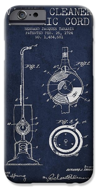 Electronic iPhone Cases - Vacuum Cleaner Electric Cord patent from 1924 - Navy Blue iPhone Case by Aged Pixel
