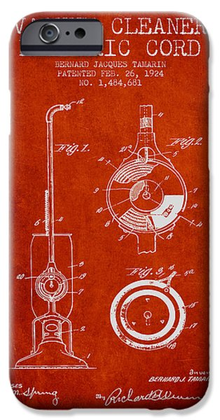 Electronic iPhone Cases - Vacuum Cleaner Electric Cord patent from 1924 - red iPhone Case by Aged Pixel